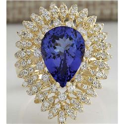 4.85 CTW Natural Blue Tanzanite And Diamond Ring 18K Solid Yellow Gold