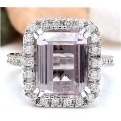 9.04 CTW Natural Kunzite 14K Solid White Gold Diamond Ring