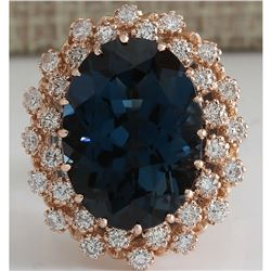 14.31 CTW Natural London Blue Topaz And Diamond Ring 18K Solid Rose Gold