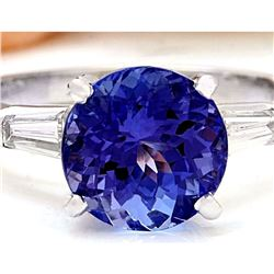 3.42 CTW Natural Tanzanite 14K Solid White Gold Diamond Ring