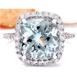 6.70 CTW Natural Aquamarine 18K Solid White Gold Diamond Ring