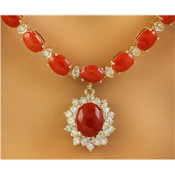 31.95 CTW Coral 14K Yellow Gold Diamond Necklce