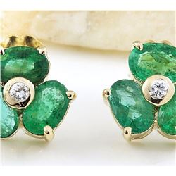 2.90 CTW Natural Emerald 18K Solid Yellow Gold Diamond Stud Earrings