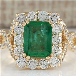 3.18 CTW Natural Emerald And Diamond Ring In 18K Yellow Gold