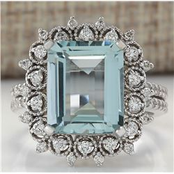 5.58 CTW Natural Blue Aquamarine Diamond Ring 18K Solid White Gold