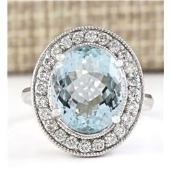 6.98 CTW Natural Aquamarine And Diamond Ring In 18K Solid White Gold