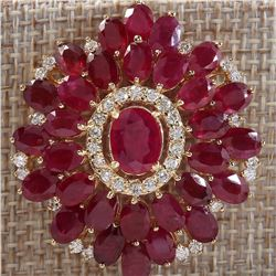 59.00 CTW Natural Ruby And Diamond Necklace In 18K Yellow Gold