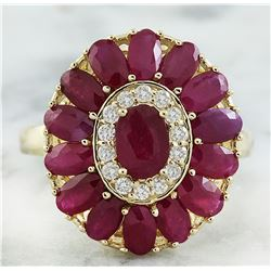 4.40 CTW Ruby 18K Yellow Gold Diamond Ring