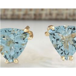 2.11 CTW Natural Blue Aquamarine Earrings In 18K Yellow Gold