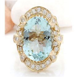 5.8 CTW Natural Aquamarine 14K Solid Yellow Gold Diamond Ring