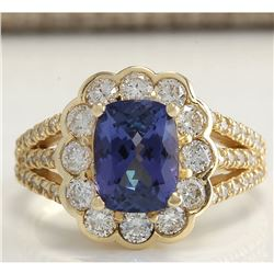 3.65 CTW Natural Tanzanite And Diamond Ring In 18K Yellow Gold