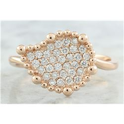 0.40 CTW Diamond 18K Rose Gold Leaf Ring