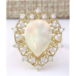 5.70 CTW Natural Opal And Diamond Ring In 18K Yellow Gold