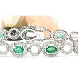 6.98 CTW Natural Emerald 18K Solid White Gold Diamond Bracelet