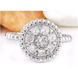 0.55 CTW Natural Diamond 18K Solid White Gold Ring