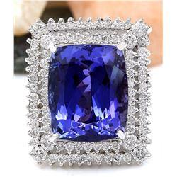 21.58 CTW Natural Tanzanite 18K Solid White Gold Diamond Ring