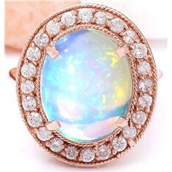 5.30 CTW Natural Opal 18K Solid Rose Gold Diamond Ring