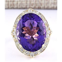 19.00 CTW Natural Amethyst And Diamond Ring In 18K Solid Yellow Gold