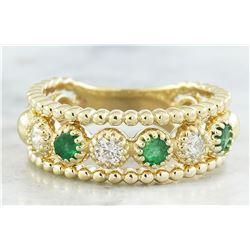0.62 CTW Emerald 14K Yellow Gold Diamond Ring