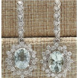6.40 CTW Natural Aquamarine And Diamond Earrings 18K Solid White Gold