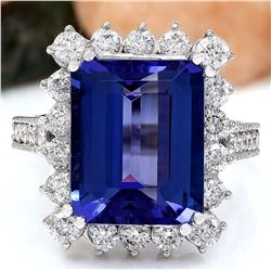 10.44 CTW Natural Tanzanite 18K Solid White Gold Diamond Ring