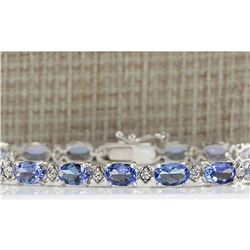 11.35 CTW Natural Tanzanite And Dimond Bracelet In 14k Solid White Gold