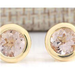 3.00 CTW Natural Morganite Earrings 14k Solid Yellow Gold