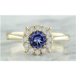 0.72 CTW Tanzanite 18K Yellow Gold Diamond ring