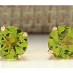3.00 CTW Natural Peridot Earrings 14k Solid Yellow Gold