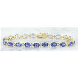 13.45 CTW Tanzanite 18K Yellow Gold Diamond Bracelet