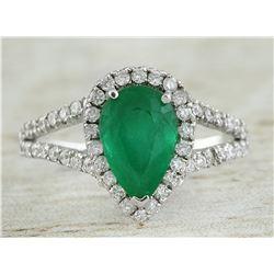 2.65 CTW Emerald 14K White Gold Diamond Ring