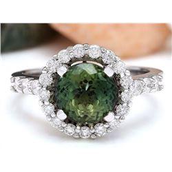 3.42 CTW Natural Ceylon Sapphire 18K Solid White Gold Diamond Ring