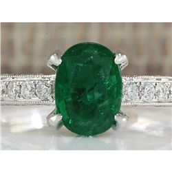 2.11 CTW Natural Emerald And Diamond Ring In 14K White Gold