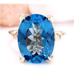 10.62 CTW Natural Topaz 18K Solid Yellow Gold Diamond Ring