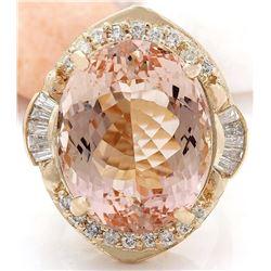 21.77 CTW Natural Morganite 18K Solid Yellow Gold Diamond Ring