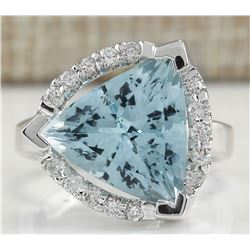 6.09 CTW Natural Aquamarine And Diamond Ring In 18K Solid White Gold
