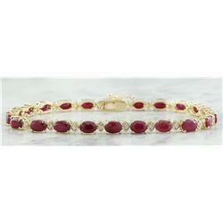 11.95 CTW Ruby 18K Yellow Gold Diamond Bracelet