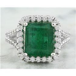 5.40 CTW Emerald 18K White Gold Diamond Ring