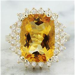 8.80 CTW Citrine 18K Yellow Gold Diamond Ring