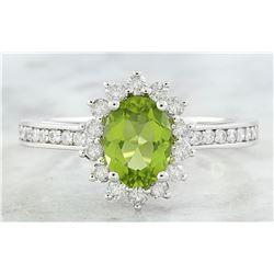 1.95 CTW Peridot 18K White Gold Diamond Ring
