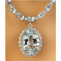 38.80 CTW Aquamarine 14K White Gold Diamond Necklace