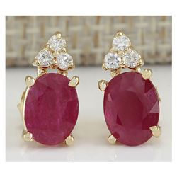 2.90 CTW Natural Red Ruby And Diamond Earrings 18K Solid Yellow Gold