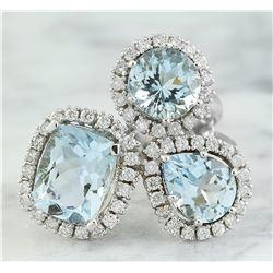 4.98 CTW Aquamarine 18K White Gold Diamond Ring