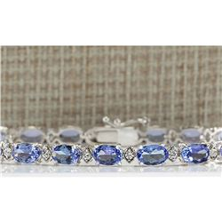 11.35 CTW Natural Tanzanite And Dimond Bracelet In 18K Solid White Gold