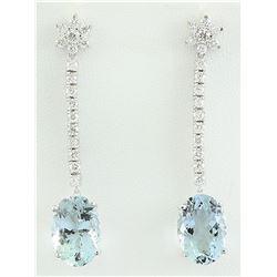 12.09 CTW Aquamarine 14K White Gold Diamond Earrings