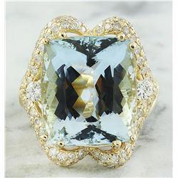 16.40 CTW Aquamarine 18K Yellow Gold Diamond Ring