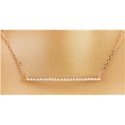 0.30 CTW Diamond 14K Rose Gold Bar Necklace