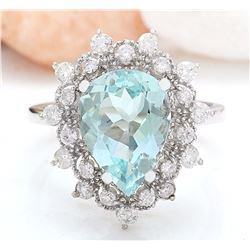 3.75 CTW Natural Aquamarine 18K Solid White Gold Diamond Ring