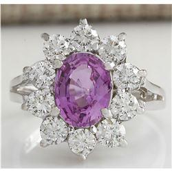 2.77 CTW Natural Pink Ceylon Sapphire Diamond Ring 18K Solid White Gold