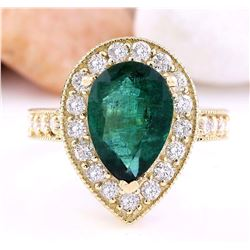 5.70 CTW Natural Emerald 18K Solid Yellow Gold Diamond Ring